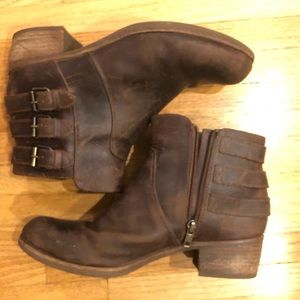 UGG brown leather boots, size 9.5